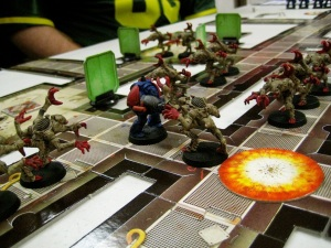 The evil Space Marines about to fall