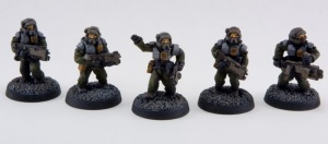 Newly-painted soldiers