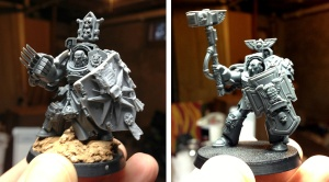 Black Templar Marshall in Terminator armor (left) and Sergeant in Terminator armor (right)